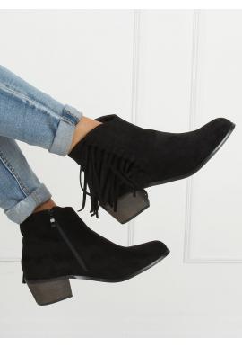 Čierne semišové topánky so strapcami pre dámy
