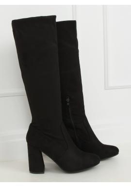 Čierne priliehavé čižmy so stabilným opätkom pre dámy