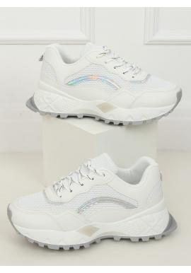 Biele športové tenisky na vysokej podrážke pre dámy