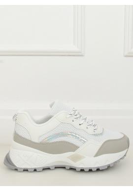 Športové dámske tenisky bielo-sivej farby na vysokej podrážke