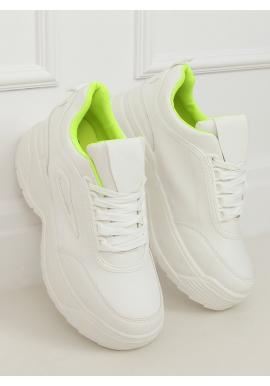 Bielo-žlté športové tenisky na vysokej podrážke pre dámy