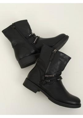 Dámske vojenské topánky s aplikáciou v čiernej farbe
