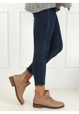 Béžové lícové topánky s výrezom pre dámy