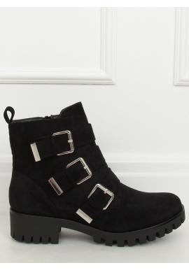 Dámske semišové topánky s prackami v čiernej farbe
