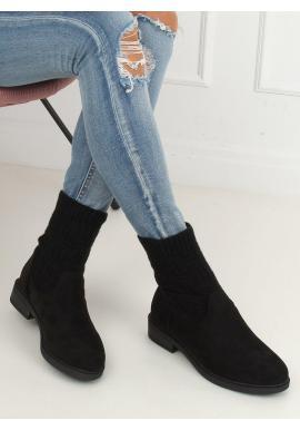 Semišové dámske topánky čiernej farby so svetrovým zvrškom