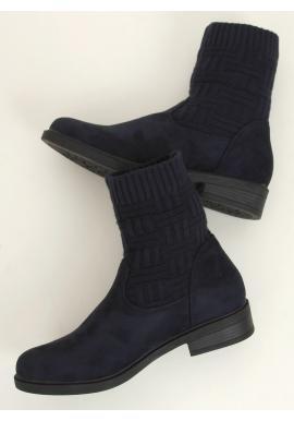 Tmavomodré semišové topánky so svetrovým zvrškom pre dámy