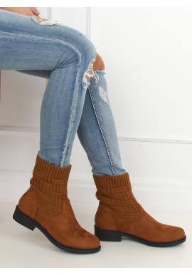 Dámske semišové topánky so svetrovým zvrškom v hnedej farbe