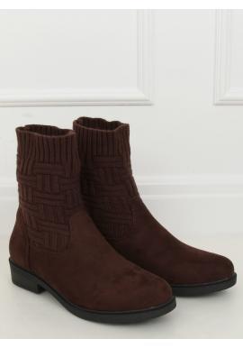 Semišové dámske topánky tmavohnedej farby so svetrovým zvrškom