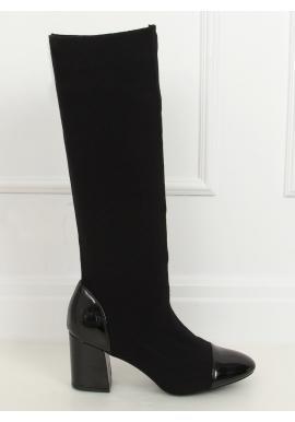 Čierne vysoké čižmy so stabilným opätkom pre dámy
