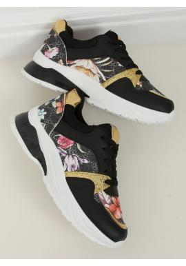 Kvetované dámske tenisky čiernej farby s vysokou podrážkou