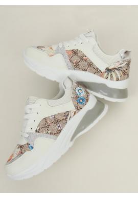Dámske kvetované tenisky s vysokou podrážkou v bielej farbe