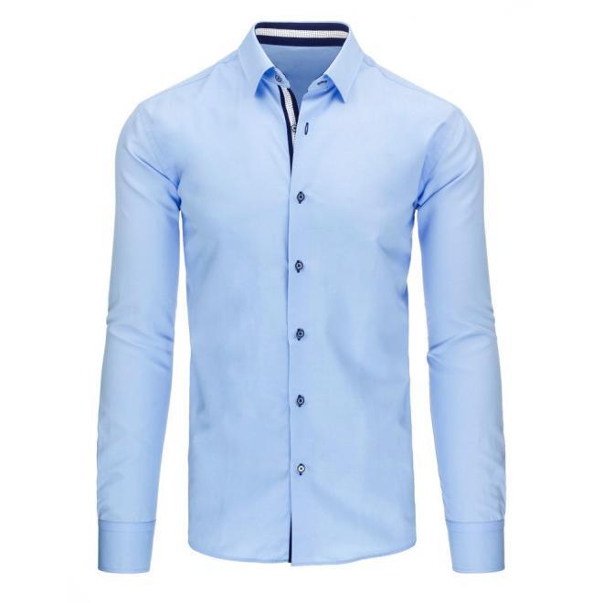 Elegantná pánska košeľa modrej farby s dlhým rukávom