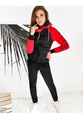 Tepláková dámska súprava červeno-čiernej farby s potlačou