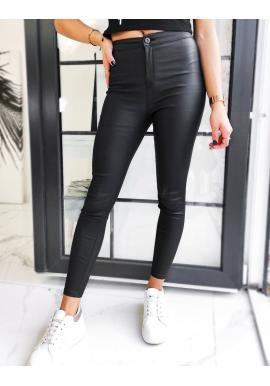 Čierne voskované nohavice s vysokým pásom pre dámy