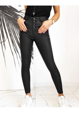 Dámske voskované nohavice s vysokým pásom v čiernej farbe