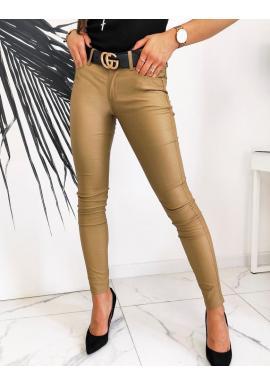 Hnedé voskované nohavice s nižším pásom pre dámy
