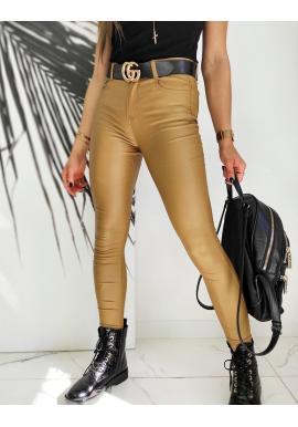 Voskované dámske nohavice hnedej farby s vyšším pásom