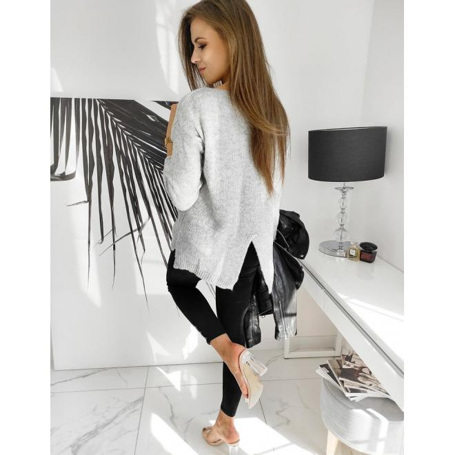 Módny dámsky sveter svetlosivej farby s vreckom vpredu