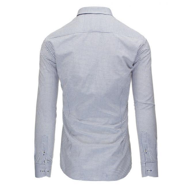 Kockovaná košeľa s dlhým rukávom v modro-bielej farbe
