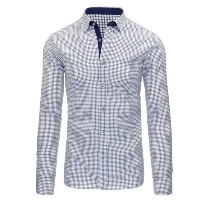 20f2c2bb04bb Pánska kockovaná košeľa bielo-modrej farby - skvelamoda.sk
