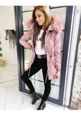 Zimná dámska parka ružovej farby s kožušinou