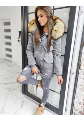 Zimná dámska parka 2v1 sivej farby s odopínacou kožušinou