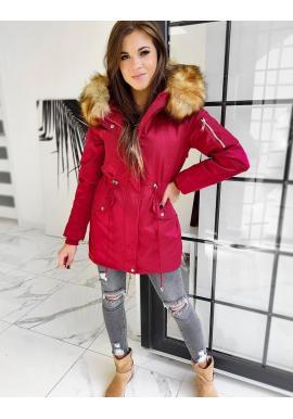 Červená zimná parka 2v1 s odopínacou kožušinou pre dámy