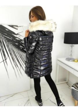 Prešívaná dámska bunda čiernej farby s lesklým povrchom