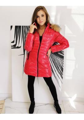 Dámska prešívaná bunda s lesklým povrchom v červenej farbe