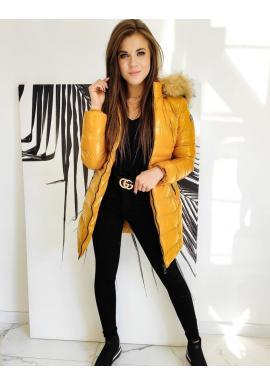 Žltá prešívaná bunda s lesklým povrchom pre dámy