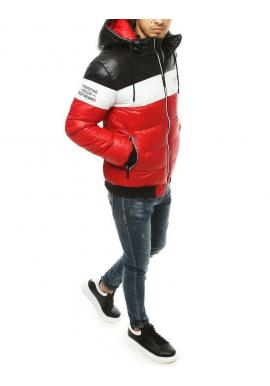 Pánska prešívaná bunda na zimu v červenej farbe