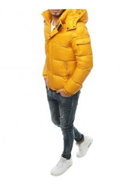 Pánska zimná bunda s prešívaním v žltej farbe