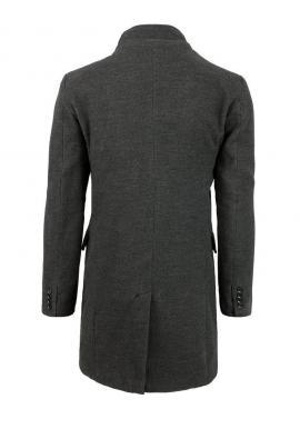 Pánsky jednoradový kabát na zimu v tmavosivej farbe