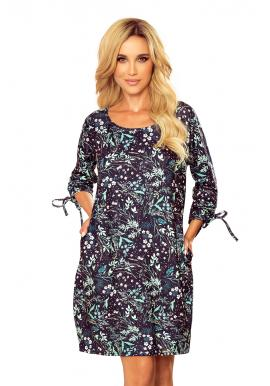 Oversize dámske šaty tmavomodrej farby s mätovými listami