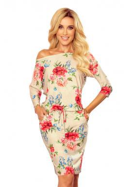 Béžové športové šaty s kvetovanou potlačou pre dámy