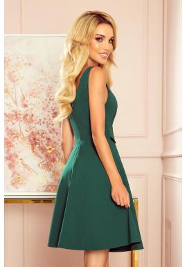Zelené rozšírené šaty s volánom na výstrihu pre dámy