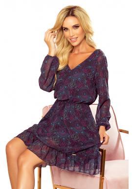 Dámske šifónové šaty so vzorom v ružovo-modrej farbe
