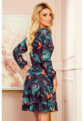 Zelené módne šaty s volánom pre dámy