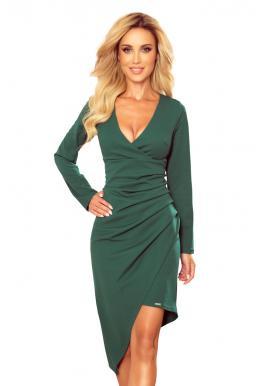 Asymetrické dámske šaty zelenej farby s výstrihom