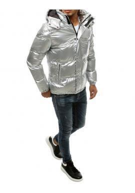 Zimná pánska bunda striebornej farby s prešívaním