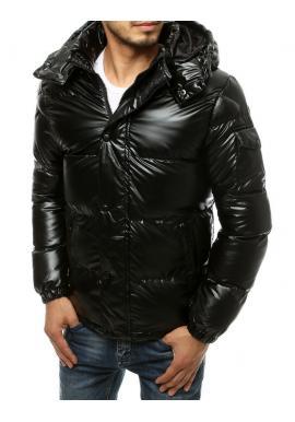 Čierna zimná bunda s prešívaním pre pánov