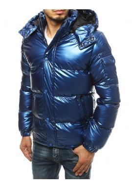 Pánska zimná bunda s prešívaním v modrej farbe