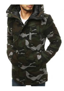 Kaki zimná bunda s kapucňou pre pánov