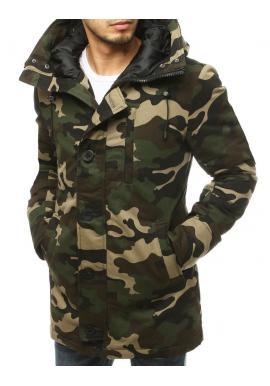 Pánske zimné bundy s kapucňou v zelenej farbe