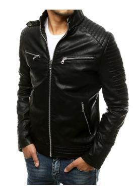 Pánska kožená bunda s prešívaním v čiernej farbe