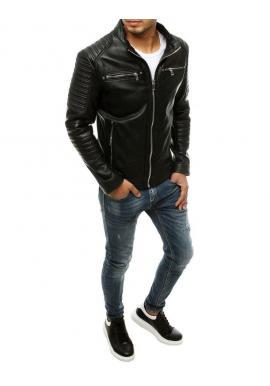 Čierna kožená bunda s prešívaním pre pánov
