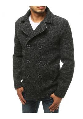 Dvojradový pánsky kabát čiernej farby s melanžovým vzorom