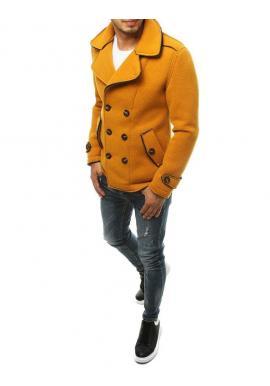 Žltý dvojradový kabát s ozdobnými gombíkmi pre pánov