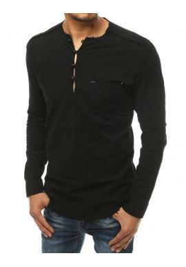 Čierna rozstrapkaná košeľa s vreckom na hrudi pre pánov