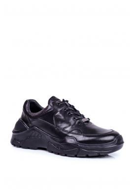 Čierne kožené tenisky pre pánov